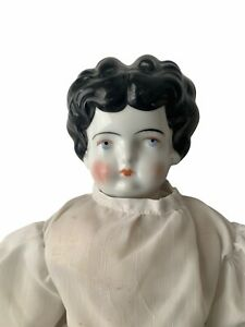 """Antique Mid 19th Century German Porcelain China Doll Cloth Body 18"""" White Dress"""