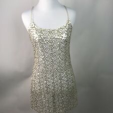 Free People Intimately Women's Gold Sequin Mesh Slip Dress Cocktail Club S AL27
