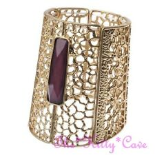 Vintage Purple & Gold Pl Cutwork Egyptian Pharaoh Cleopatra Bracelet Bangle Cuff