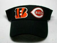 READ ALL! Cincinnati Bengals/Reds Heat Applied Flat Logos on Visor Cap hat!