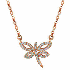 S925 Sterling Silver Dragonfly Pendant Necklace with Swarovski Element Rose Gold