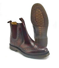 Grafters Mens Boots Leather Brogue Chelsea Dealer Cushion Soles Oxblood UK3 - 12