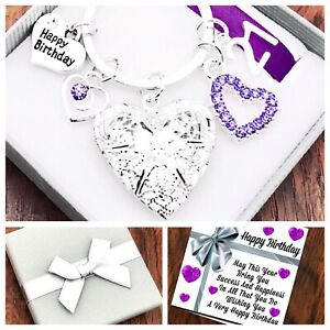 16th 18th 21st BIRTHDAY Gift, PURPLE HEART LOCKET, Keyring 30th 40th 50th 60th