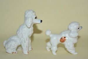 Vintage Kitsch Retro 2 x White Poodle Ornament Unknown Maker Used & Unboxed