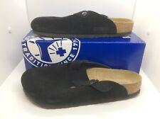 BIRKENSTOCK Womens Boston Black Suede Slip On Clog Shoes Sz 11 EU42 ZB6-1219