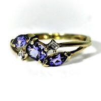 9ct 9k Gold Tanzanite Diamond Ring Size 5 1/4 - K