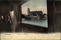 Säckingen 1905 color AK mit Helvetia Frankatur Motiv Blick v.d. Brücke Kirche