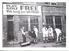POST CARD OF VINTAGE PHOTOGRAPH PLAY GOLF FREE WHILE YOUR SUIT IS PRESSED