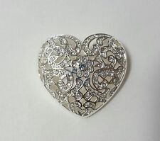 Napier Brooch - Heart - Silver White Stone Pin
