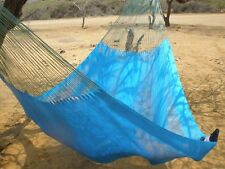 HANDWOVEN MEXICAN MAYAN HAMMOCK DOUBLE SIZE BLUE