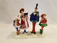 Unique Vintage Family Christmas Carolers Figurine with Puppy Collectible 10 x 10