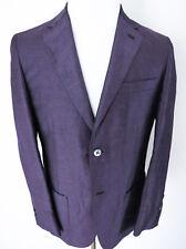 $4200 BRIONI Purple Linen Silk Blazer Jacket Coat with Leather Trim Size Small