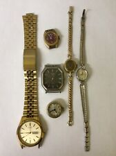 LOT OF 6 FOR PARTS OR REPAIR MENS/WOMENS WATCHES PULSAR CITIZEN PILGRIM HELBROS.