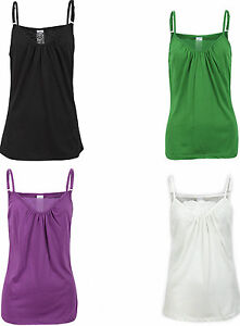 ExStore Stretchy Cotton Strappy Camisole Vest Top Petrol Blue,Purple 10 or 14