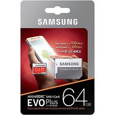 Samsung 64GB Micro SD SDXC MicroSD MicroSDXC Class 10 100MB/s 64G 64 GB EVO Plus