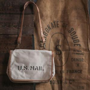 Bronson 40s US Mail Messenger Bags Cotton Crossbody Men's Satchel Natural Medium