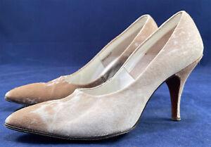 Vintage 1950s Beige Calfskin Ponyskin Print Fur Stiletto High Heel Pumps Shoes