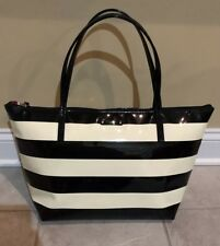 KATE SPADE Penn Valley Sophie Black Stripe Zip Tote Shoulder Bag Purse
