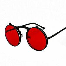 Vintage Retro Flip-up Lens Steampunk Sunglasses Gothic Punk Circle Round Glasses