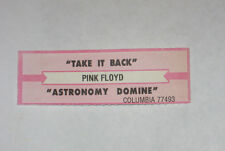 x1 Pink Floyd Jukebox Title Strip Take It Back & Astronomy Domine COLUMBIA 77493
