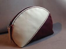Handmade Leather Red And White Make Up, Cosmetic Travel Accessory Bag, Pouch.