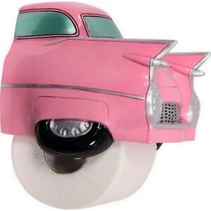 Pink Cadillac Toilet Roll Holder Bathroom Retro Car Wall Mount Paper Dispenser