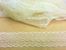 CraftbuddyUs Vl8C 20m x 43mm Ivory Vintage Lace Bridal Wedding Trim Ribbon Craft