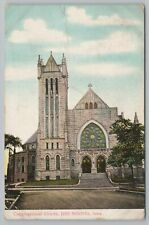 Des Moines IA~Congregational Church Front View~Stained Glass Windows~Vintage PC