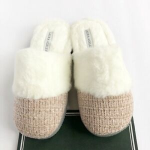 NEW Laura Ashley Memory Foam Chenille Faux Fur Slippers Pale Pink Size S (5-6)