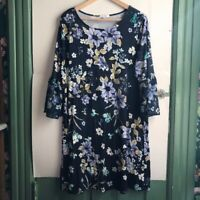 LC LAUREN CONRAD Navy Blue White Purple Floral 3/4 Bell Sleeve Shift Dress XXL