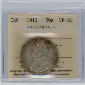 1912 Canada Fifty Cents - ICCS VF-20