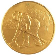 Great Britain sports CURLING By Pinches gilt-bronze 38mm