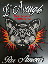 3pc/set FIRE BLACK CAT HEAD Embroidered Large Patch Fashion Sew Iron on Applique