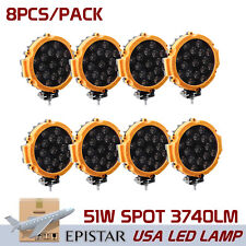 8X 7inch 51W Offroad LED Work Light Yellow Round Spot Slim Driving Truck Jeep