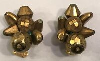 Carnegie Signed Faceted Glass Bead Cluster Clip On Earrings