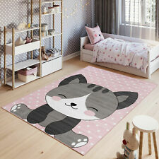 Nursery Pink Children's Soft Bedroom Mat Kitty Pattern Animal Kitten Kid's Rugs