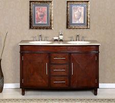 55-inch Travertine Stone Top Dual Sink Bathroom Double Vanity Cabinet 0222TR