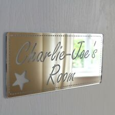 SHABBY Chic Specchio Rettangolo Porta personalizzata nome PLACCA BAMBINO BAMBINA stanza letto