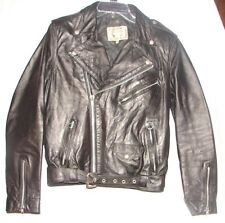 Vintage Black Leather El Venado Motorcycle Jacket Coat  with fringe ~ size 36