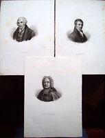 1835 LOTTO DI INCISIONI RAFFIGURANTI JAMES WATT HUMPHRY DAVY E. BELSUNCE