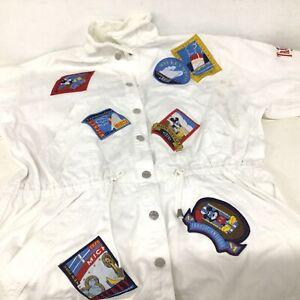 Mickey Mouse Disney Transatlantique Cruise White Canvas Jacket Size L #915