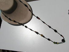 VINTAGE JET BLACK COLORED PINK  AMBER GLASS CRYSTAL BEADS BICONE OBLONG NECKLACE