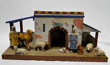 Antique wooden toy stable Arabian with 2 men and animals composition