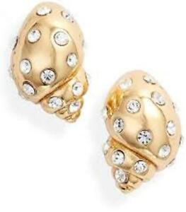 KATE SPADE NEW YORK UNDER THE SEA CONCH SHELL PAVE STUD EARRINGS NWT