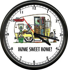 Trailer Park Camper Canned Ham Retro Vintage Glamping Home Sweet Sign Wall Clock