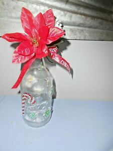"Handmade Decorative Glass LED Lighted Wine Bottle ""Christmas"""