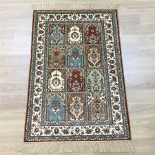 Yilong 2'x3' Garden Scene Hand knotted Carpet Home Hand Woven Area Silk Rug 134A