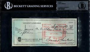Vince Lombardi Signed Check BAS Green Bay Packers Legendary Coach Auto Autograph