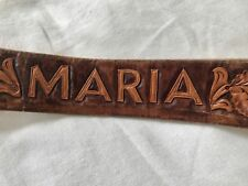 Vtg Leather Western Crow Hand Tooled 'MARIA' Horses Belt