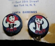 """Russian War Relief Hand Painted """"Tanya"""" Earrings WWII Russia Aid RWR Wooden"""